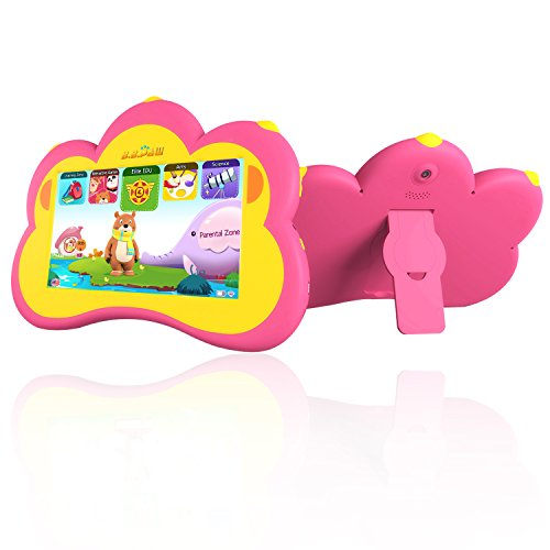 B.B.PAW Kids Tablet English Spanish Bilingual Languae, 90 Pre-loaded Apps Learning Training Kid's Abilities and Develop Talents,7 Inch HD Display-Pink by B.B.PAW