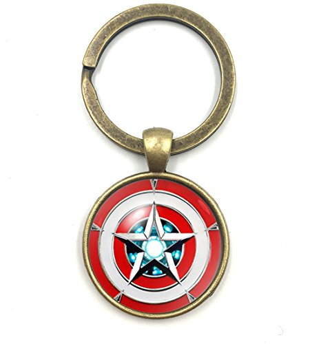 Dome Inspired (Captain America Shield Keychain Super Hero Inspired Glass Dome Key Ring Graduation Gift (Brass))