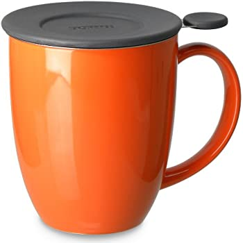 FORLIFE Uni Brew-in-Mug with Tea Infuser and Lid, 16-Ounce, Carrot