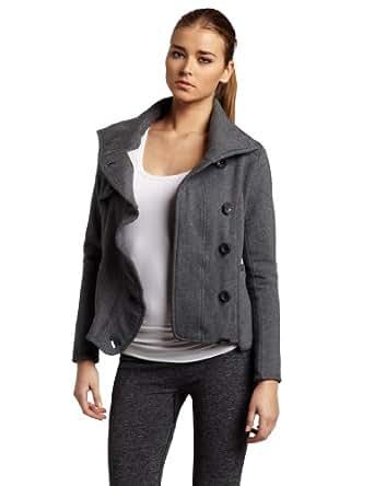 Womens Long Sleeve Asymmetrical Ruffle Jacket, Charcoal Heather, Large