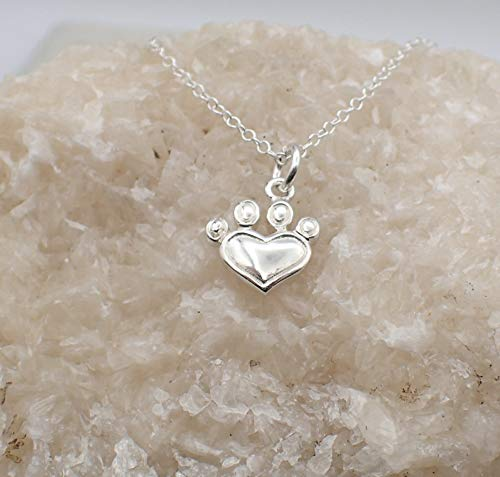 Corinna Print - Sterling Silver Heart Paw Print Necklace 20 inch