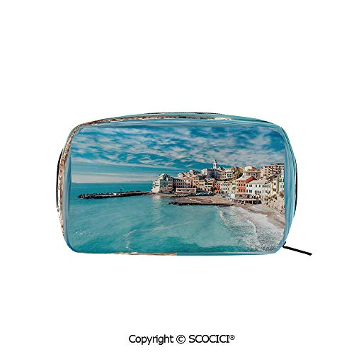 Printed Makeup Bag Organizer toiletry bags Panorama of Old Italian Fish Village Beach Old Province Coastal Charm Image Rectangle Cosmetic Bags for Girls Ladies