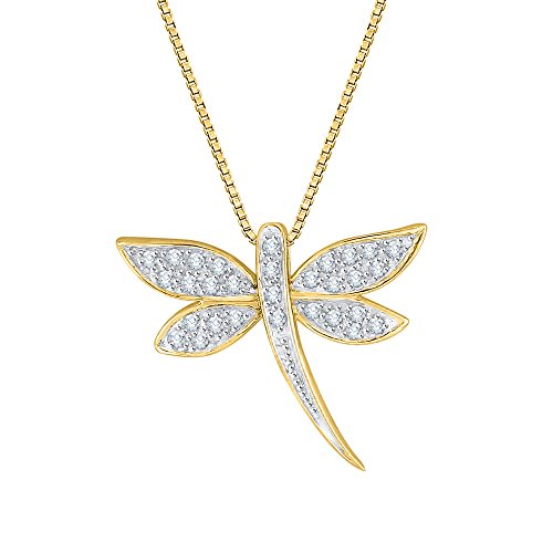 KATARINA Diamond Dragonfly Pendant Necklace in 14K