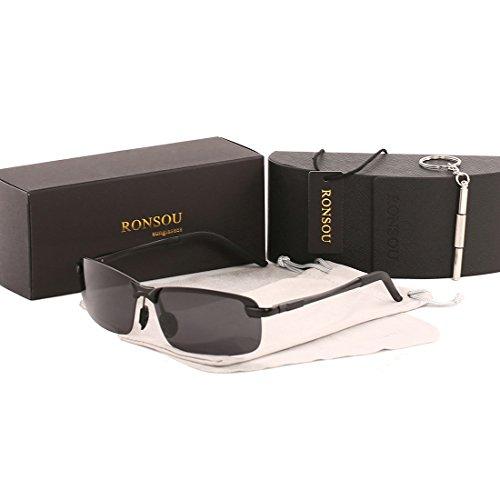 Ronsou Men UV400 Rimless Aluminium-Magnesium Polarized Sunglasses For Driving Fishing Golf Outdoor black frame/gray - Sunglasses Kim Kardashian Black All
