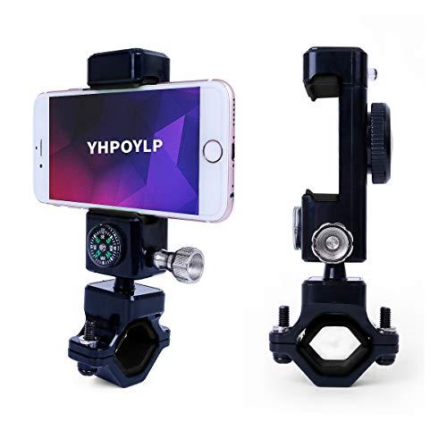 Bike Phone Mount Motorcycle Phone Holder Bike Handlebar Cellphone Holder 360 ° Rotation Adjustable with LED Lighting & Compass Fits iPhone X,8,7, iPhone 6s, Galaxy S7/ S6/ S5, Samsung LG etc.(black)