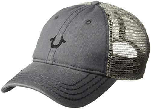 True Religion Men's CORE Logo Trucker Cap, Factory Grey, OSFA