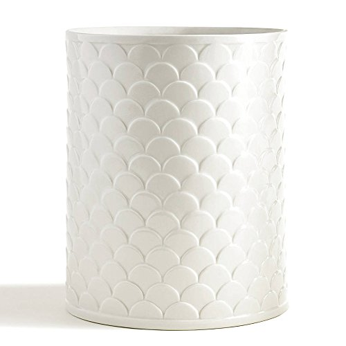 Waste Basket, Kassatex Scala Bath Accessories | Embossed (Porcelain Bath Accessories)