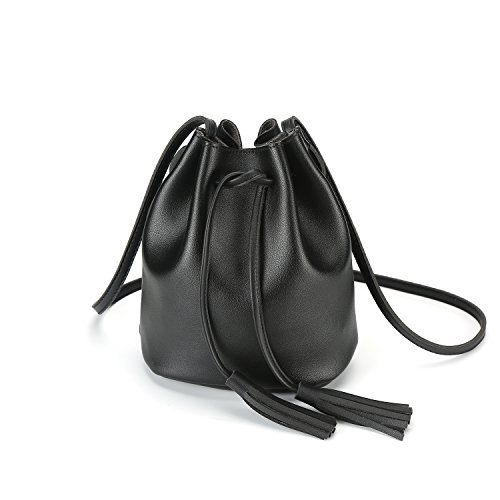 Leather Drawstring Purse - Crossbody Handbags Drawstring Bucket Bag for Women Shoulder Bag Purse Tote PU Leather Bags (One Size, Black)