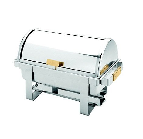 Excellante Full Size SS Roll Top Gold Accent Chafer - 8 qt. by MegaDeal