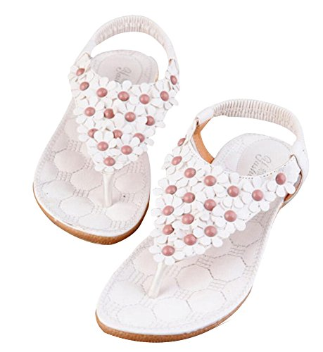 Vocni Womens Flat Sandals Summer Flowers Beads Bohemian Flip Flop Shoes White m1HcPS4uO