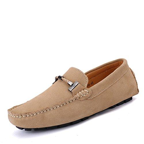 Eagsouni® Herren Mokassins Bootsschuhe Wildleder Loafers Schuhe Flache Fahren Halbschuhe Beiläufig Slippers Hausschuh #1Khaki