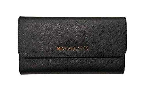 Michael Kors Jet Set Travel Large Saffiano Leather Trifold Wallet (Black)