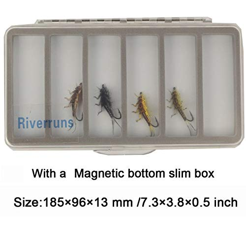 Fishing Lures - Riverruns Realistic Flies Stonefly Nymph Flies Assortment 4 Color with Fly Box - (Color: 10 Size Magnetic Box)