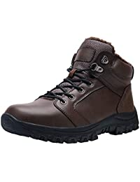 Mens Leather Snow Boots Ankle Sneakers High Top Winter Shoes with Fur Lining