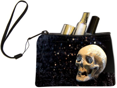 [Rikki Knight Death Skeleton Design Keys Coins Cards Cosmetic Mini Clutch Wristlet] (Skeleton Makeup)