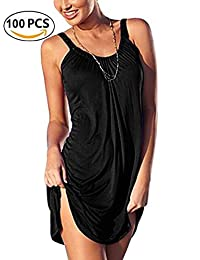 Women Slip Relaxed Strappy Sleeveless Beach Short Mini Dress with Gathered Neckline