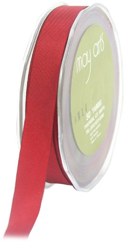May Arts 5/8-Inch Wide Ribbon, Red Taffeta