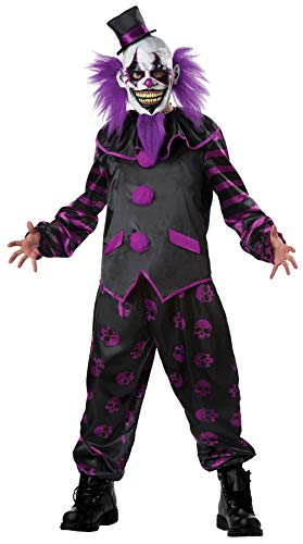 Men's Bearded Clown Outfit Scary Carnival Theme Party Halloween Costume, M]()