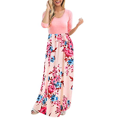 Rambling Casual Women's Maxi Dress, 2018 New Floral Print Long Sleeve Long Tank Dress by Rambling