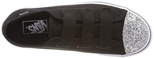Vans Unisex-Kinder Style 23 V Sneaker Schwarz (Glitter Toe)