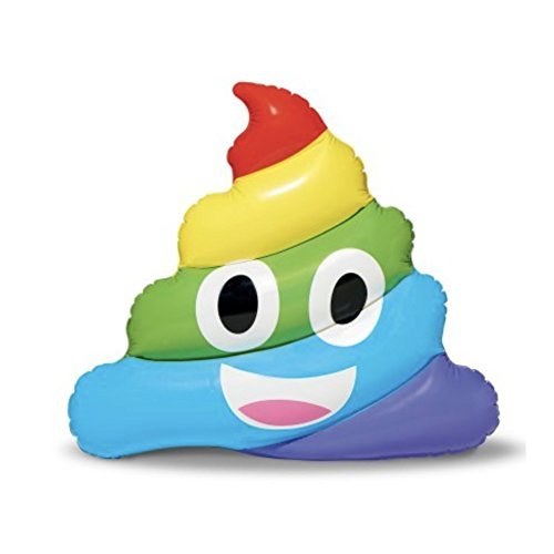 Pool Float Rainbow Poop Emoji - Great for lounging at the pool or beach, 4 Ft -