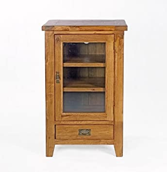 Neo Hi Fi Closed Storage Unit With Glass Door Solid Oak Wood Rustic