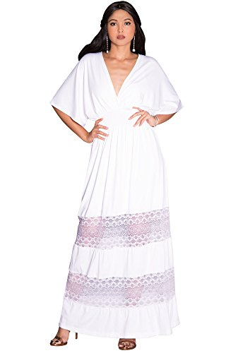 (KOH KOH Petite Womens Long Sexy Summer Spring V-Neck Half Short Kimono Sleeve Sundress Lace Flowy Casual Empire Waist Boho Bohemian Tall Beach Elegant Maxi Dress Gown, Ivory White S 4-6)