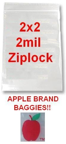 1,000 2x2 2mil Apple Brand Clear Ziplock Bags 2 2