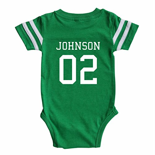 Custom Football Baby Bodysuit Personalized with Name and Number (12-18M (18M), Vintage (Customized Kids Clothes)