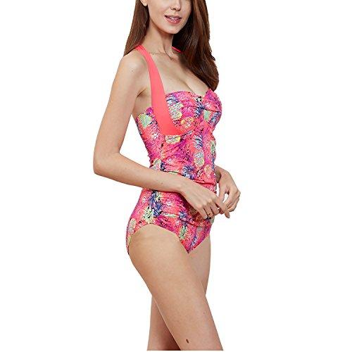 Dolamen Mujer trajes de baño, Bañador Deportivo Traje de Baño de Una Pieza Bañador de natación Bikini Para Mujer, Impresión de la flor de la taza incorporada Rosa