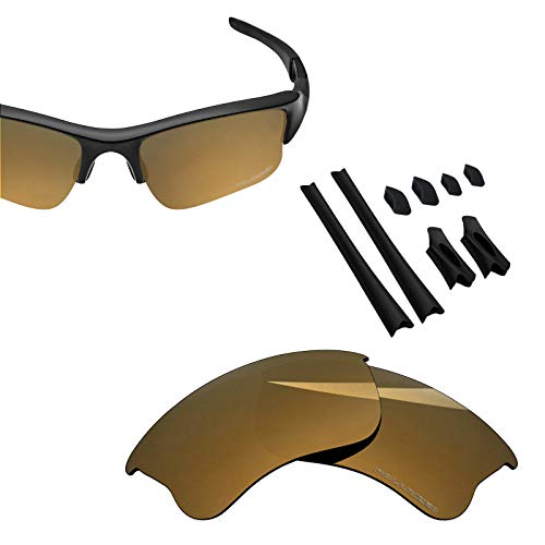 BlazerBuck Anti-salt Polarized Replacement Lenses & Sock Kit for Oakley Flak Jacket XLJ - Pearl Gold