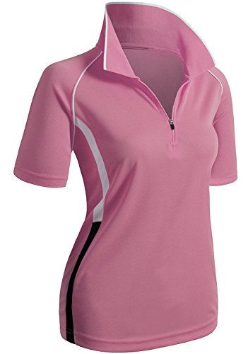 CLOVERY Quick Drying Active Wear Short Sleeve Zipup POLO Shirt PINK US M / Tag M (Ladies T-shirts Polo)