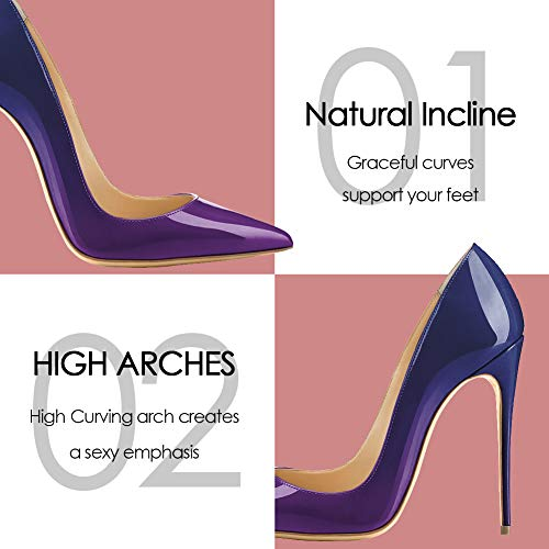 Klassische Pumps Schwarz Heels Gradient Jushee Büro Kleid Damen Sexy Blue Purple High Stiletto E1RBOFqw