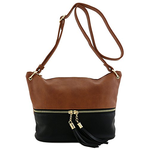 Tassel Accent Bucket Crossbody Bag Brown/Black