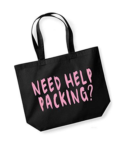 cotone nero di Hai rosa aiuto l'imballaggio unisex Slogan per tela in bisogno di Borsa It7Bwqt