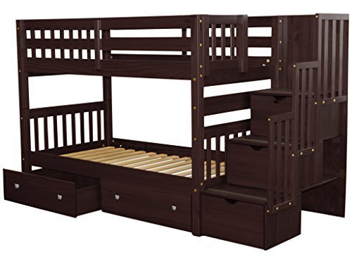 Bedz King Stairway Bunk Beds Twin over Twin with 3 Drawers in the Steps and 2 Under Bed Drawers, Cappuccino 2