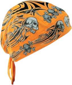 Zanheadgear Flydanna Bandanna, 100% Cotton, Orange Tribal Skull ()