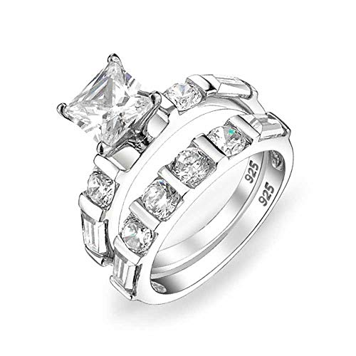 Deco Style 2 CT Square Princess Cut Solitaire Baguette Band AAA CZ Engagement Wedding Ring Set For Women Sterling Silver ()