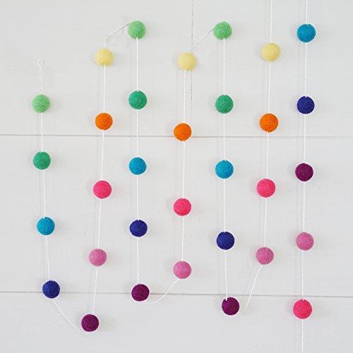 100% Wool Felt Ball Garlands 9FT Long 35 Balls - Rainbow Brights -