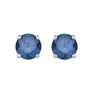 1/3 ct. Blue - I1 Round Brilliant Cut Diamond Earring Studs in 14K White Gold