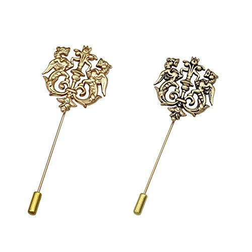 - AngelShop Men Metal Brooch Pin Double Rampant Winged Lion Crown Lapel Stick Pin Tie Badge Brooch 2PCS Rampant