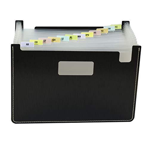 Metallic Pocket - C-Line Modern Metallic 13-Pocket Horizontal Stand-Up Expanding File, Brilliant Black, 8-1/2