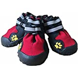 Dog Shoes, Waterproof Dog Rain Boots Non Slip Snow Shoes Protectors for Small Medium Large Dogs Paws Keep Warm in Winter - Red