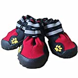 #2: Dog Shoes, Waterproof Dog Rain Boots Non Slip Snow Shoes Protectors for Small Medium Large Dogs Paws Keep Warm in Winter - Red 4(2.44