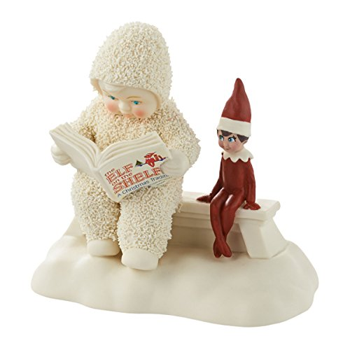 Department 56 Snowbabies Elf on the Shelf Listens to a Story Porcelain Figurine, 4.25