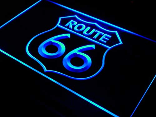Historic Route 66 Mother Road Beer Bar Pub Club Cafe LED Neon Light Sign Displays Logos Home Decor with On/Off Switch 6 Colors to Choose (30X20 cm) (Blue)