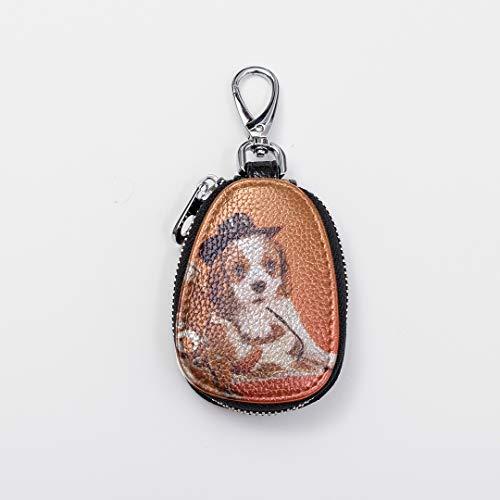 Custom Keychains Cute Mini Womens Keychain Cavalier King Charles Spaniel Puppy Miniature Leather Car Key Cover Case Fasion Zipper Key Clip Ring For Auto Car Remote Smart Key Universal ()