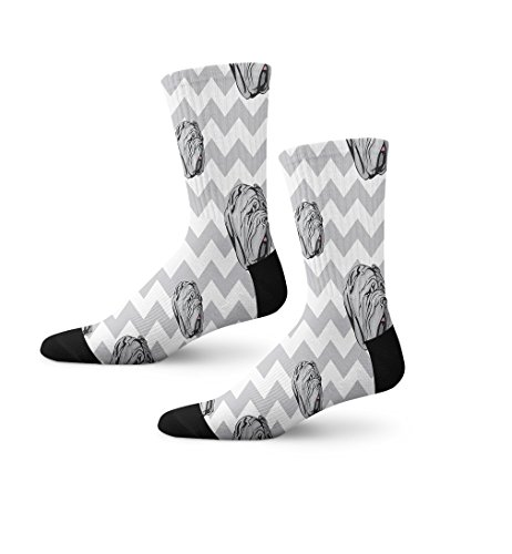 Mastiff Socks (Nepolitan Mastiff Dog Gray Zigzag Novelty Cuff Crew Men Women Socks Large)