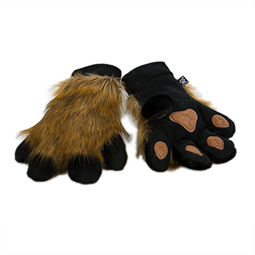 Realistic Furry Animal (Pawstar Paw Mitts Realistic Furry Animal Hand Paws Costume Gloves Adults - Pepper Brown)