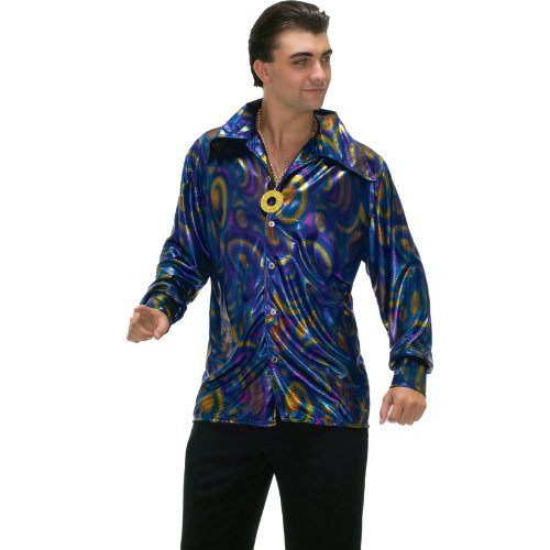 Forum Novelties Men's Plus-Size 70's Disco Plus Size Dynamite Dude Costume Shirt, Purple/Gold/Blue, X-Large (1970's Shirt Disco)
